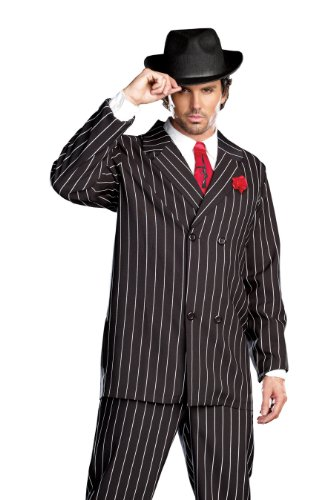 Bonnie And Clyde Costumes - Dreamgirl Men's Gangsta Costume, Black/White,