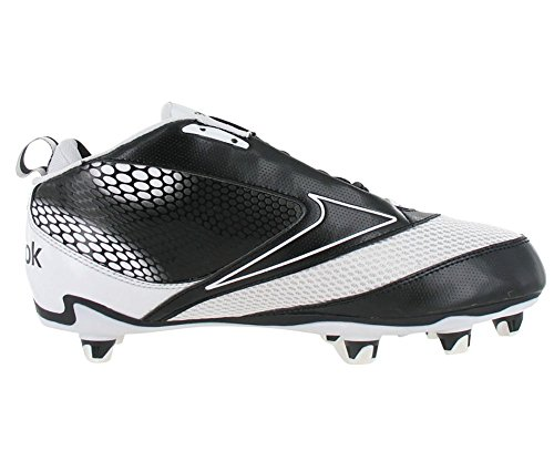 Reebok NFL U-Form 4Speed Mid M4 Men Round Toe Synthetic Black Cleats (8.5, Black/White)