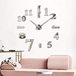 decalmile Modern Mute Frameless DIY Large Wall Clock 3D Mirror Stickers Office Home Decor Gift (Silver)