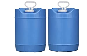House Naturals 5 Gallon (18 Liter) BPA FreeContainer Bucket with Cap, HDPE Food Grade,(Pack of 2) Blue, Made in USA