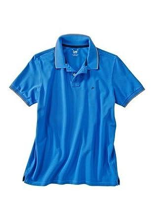 Lee Polo de hombre con logotipo bordado Pique Polo azul: Amazon.es ...