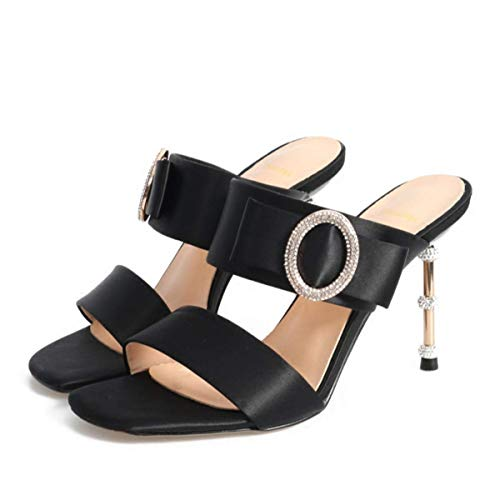 Black With Heels Comfortable Women'S Belt Square 9Cm Simple Metal Thin Sandals High Shoes A Summer Fashion Toe KPHY ZSPxtTT