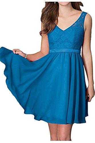 Cocktailkleider Dunkel Braut Abendkleider Damen V Marie Ausschnitt Partykleider Ballkleider Spitze Blau La RC85q7nxvv