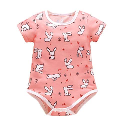 Short Sleeves Cartoon Toddler Baby Romper Jumpsuits Rabbit Print O Neck Pajamas Sleepwear Bodysuits Unifits (Pink, 12-18 M)