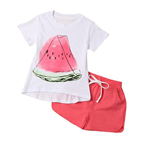 [BUBASON Toddler Kid Baby Girl Small Watermelon Shirt+Shorts Clothes Outfit 2PCS Set (120, Red)] (Watermelon Toddler Costume)