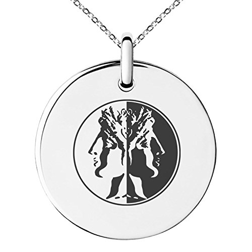 Stainless Steel Janus Greek God of Beginnings Symbol Engraved Small Medallion Circle Charm Pendant (Small Circle Charm)