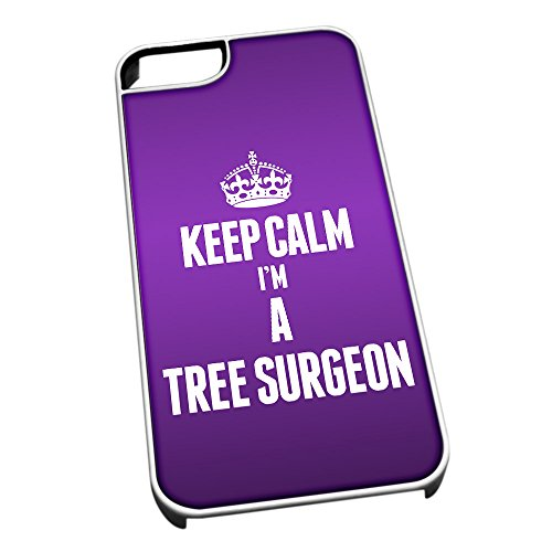 Bianco cover per iPhone 5/5S 2700 viola Keep Calm I m A Tree Surgeon