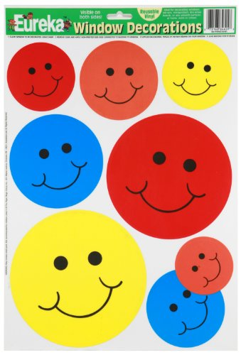 (Eureka Smiley Face Vinyl Window Clings Classroom Decorations, 12'' W x 17'' H )
