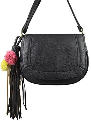 Studded Vegan Leather Saddle Bag Boho Crossbody Purse Bohemian Handbag w/ Tassel (Black Pom - And Tori Burch
