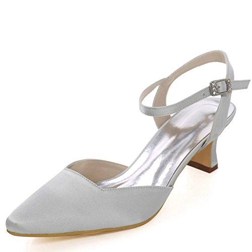 16 L d'honneur Silver Toe Taille Chaussures Grande Satin Talons Femmes 0723 YC Demoiselle Bas de Buckle pour Mariage Closed 44xqZA0