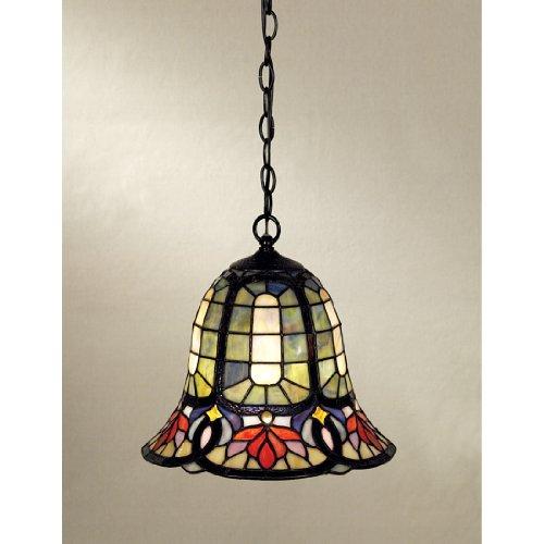 Quoizel Stained Glass Pendant - Quoizel TF1737VB Hyacinth Tiffany Mini Pendant Lighting, 1-Light, 150 Watts, Vintage Bronze (12