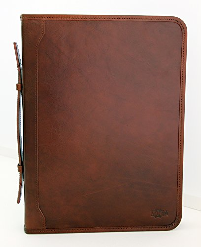 Amazon.com : Noda Conference Folder A4 Italian Folder Leather Ring Binder A4 Clipboard with Handle (Brown) : Office Products