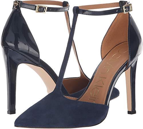 Calvin Klein Women's Brandy Dark Navy Kid Suede/Patent 6 M US M (Calvin Suede Heels)