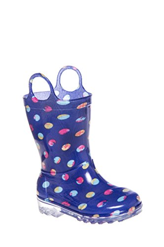 TOMS Kids Unisex Rain Boot  Blue Dots PVC Boot 10 Toddler M