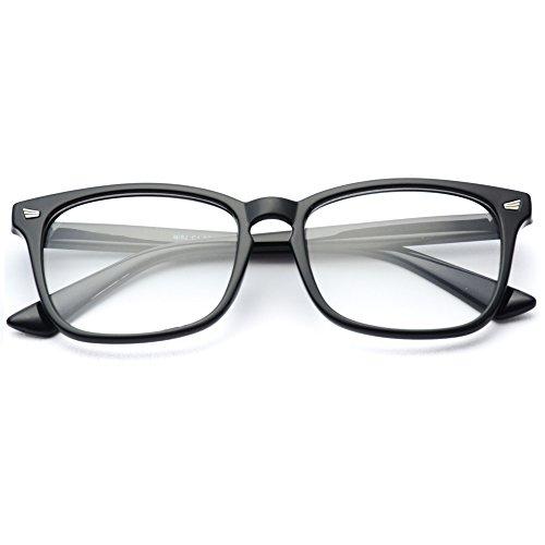 WearMe Pro - Classic Rectangular Retro Clear Glasses - Matte Prescription Glasses Black