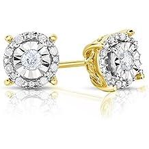 Sterling Silver 1/4CTW Round Diamond Earrings