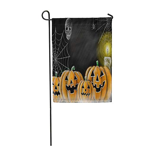 Tarolo Decoration Flag Orange Autumn Drawing Halloween Pumpkin Cobweb Spider Skull and Candle Chalkboard Copy Space for Your Texts Carved Thick Fabric Double Sided Home Garden Flag 12
