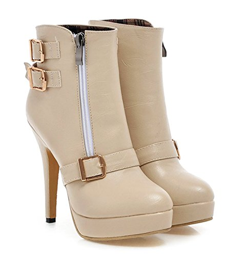Elegant Platform and Buckle Stiletto Short Women Ankle Shoes YE Zippers with Shoes Fashio Winter Beige Boots High Heels Autumn 6qHSqEw