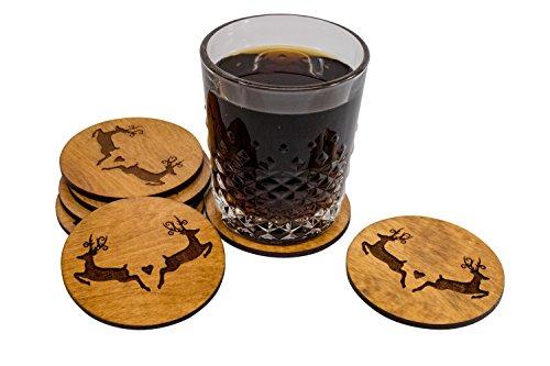 Hard Coated Woodsy Coasters - Deer Lover - 4 3.5