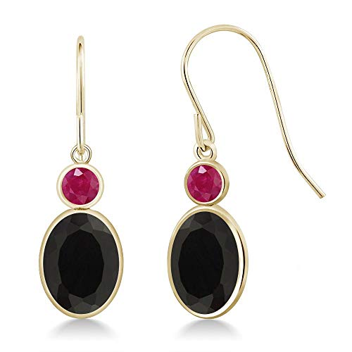 Gem Stone King 2.46 Ct Oval Black Onyx Red Ruby 14K Yellow Gold Earrings