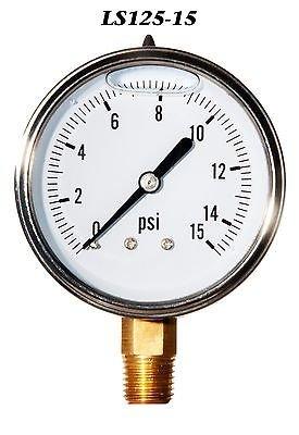 Hydraulic Liquid Filled Pressure Gauge 0-15 PSI Liberty Pneumatics