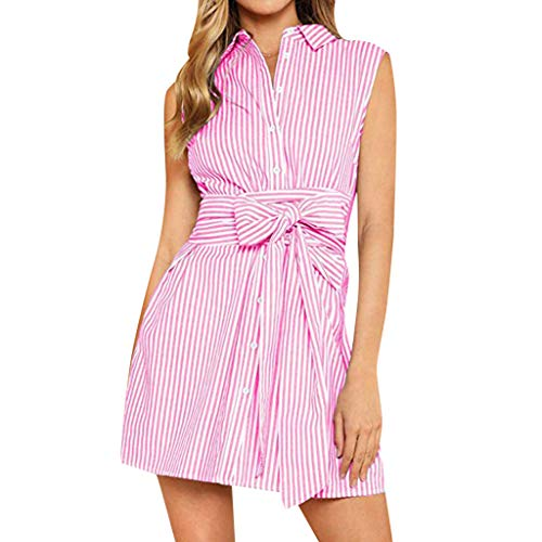 iYYVV Womens Casual Striped Printing Lapel Sleeveless Mini Bow Lace Up Princess Dress Pink (Phone 1950s Princess)
