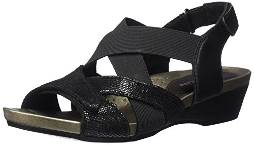Aravon Women's Standon X Strap Heeled Sandal, Black, 8 D US