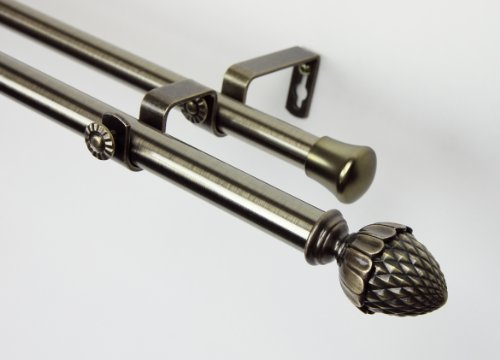 Modern Acorn Double Curtain Rod in Antique Brass Size: 48