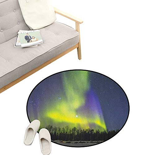 Alaska Round Area Rug Non-Slip ,Aurora Borealis Over The Snow Covered Forest in The Northwest America Alaskan Winter, Living Room Bedroom Coffee Table 23