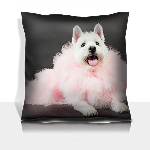 (Liili Throw Pillowcase Polyester Satin Comfortable Decorative Soft Pillow Covers Protector sofa 16x16, 1pack White Westhighland westie terrier with pink boa isolated on black background Photo)
