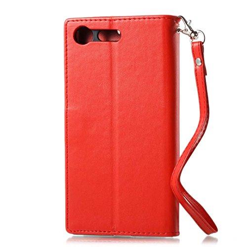 COWX Sony Xperia XZ Premium Hülle Kunstleder Tasche Flip im Bookstyle Klapphülle mit Weiche Silikon Handyhalter PU Lederhülle für Sony Xperia XZ Premium Tasche Brieftasche Schutzhülle für Sony Xperia VtVu5E