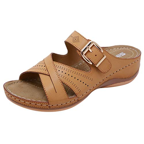 ◕‿◕Water◕‿◕ Women's Slipper, Women Summer Open Toe Hook Loop Comfy Sandals Casual Wedges Non-Slip Slippers Yellow