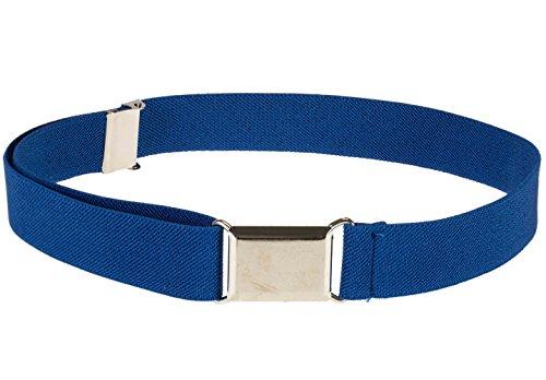 Kids Elastic Adjustable Strech Belt With Silver Square Buckle - Royal Blue