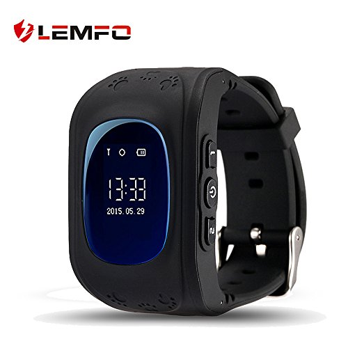 LEMFO Q50 Smart Watch GPS Smartwatch Phone Anti Lost SOS Call Children Finder Fitness Tracker WristWatch Bracelet Parents Control for iOS Android (Black)