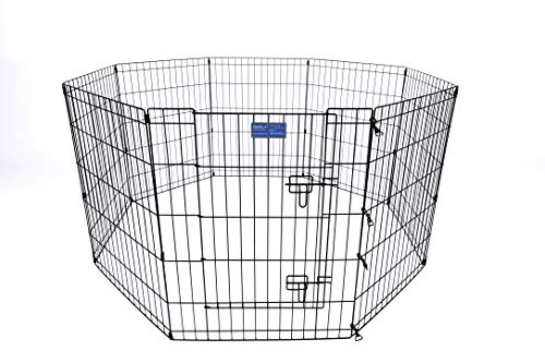 Simply Plus Pets Foldable Metal Exercise Pen/Pet Playpen, for Indoor Home & Out-Door Use. Keeps Pets Safe,Easy Set Up…