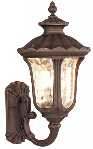 Livex Lighting 7656-58 Oxford - Three Light Exterior Lantern, Imperial Bronze Finish with Light Amber Water Glass