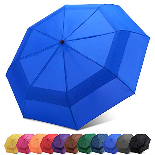 Fidus Compact Windproof Vented Automatic Travel Umbrella with Double Canopy - Large Lightweight Folding Car Golf Umbrella for Women Men Kids-Royal Blue