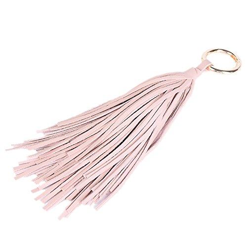 (ZOONAI Women Leather Tassel Keychain Car Keyring Holder Bag Wallet Purse Decorations (Pink))