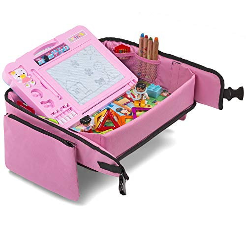 Pink Toddler Car Seat Travel Tray | +Bonus 2 in 1 Magnetic Doodle Board & Chalkboard | Kids Carseat Activity Tray, Lap & Play Tray for Car Seat and Stroller by Kidsmarter by KIDSMARTER (Image #9)