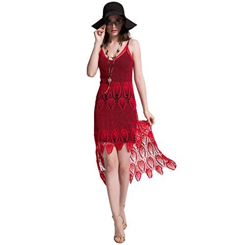 ZORJAR 100% Handmade Women's Low V Neck Sexy Hollow Crochet Lace Party Dress by ZORJAR