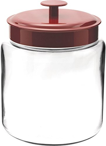 Anchor Hocking Glass Mini Modern Montana Jar with Red Metal Cover, 96 - Ounce 96 Jar