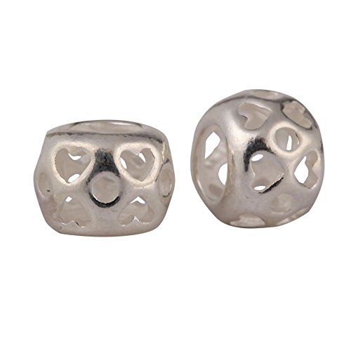 10pcs x Sterling Silver Heart Pattern 7.5mm Large Hole Spacer Beads (Hole size ~3.8mm) #SS59 ()