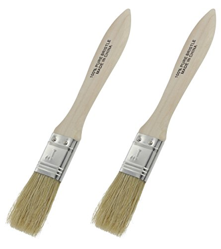 Ram-Pro Classic Natural Pure Bristles Bristle Pastry Brushes, Wood Handle Lacquered Hardwood Long Pure Basting glazing Brush Easy to Clean, Great for Butter Boar Bristles Brush (Set of 2) (Fish Mix Bake)