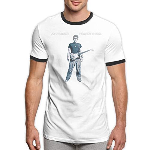 John Mayer Heavier Things Classic Men's Summer Tops Short Sleeve Ringer Tee Shirt Black S