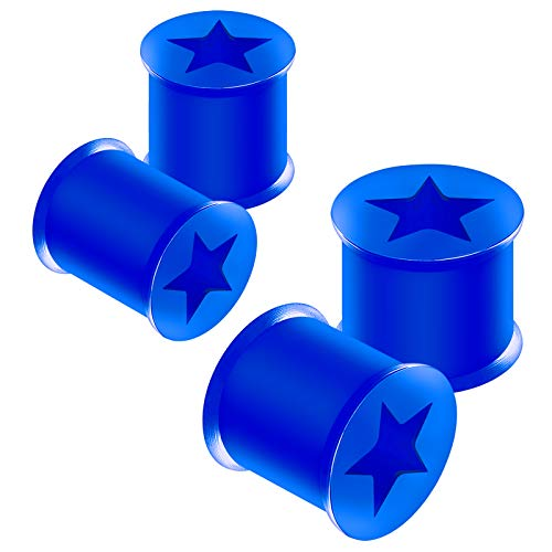 BanaVega 4PCS Silicone Blue 00g 10mm 1/2 inch 12mm Double Flared Star Shaped Cut Out Gauge Ear Plugs Tunnel Lobe Piercing Jewelry 4497