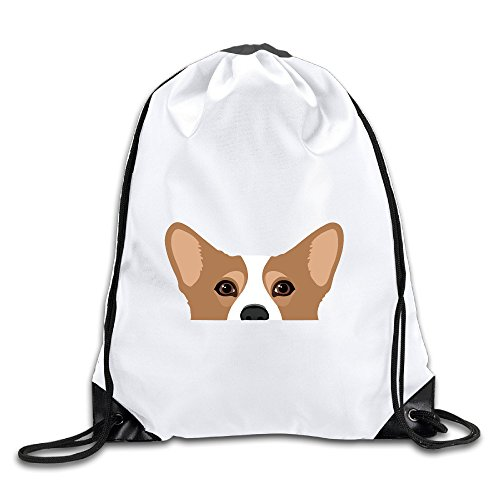 Cute Corgi Dog Art Print Drawstring Backpack White Unisex