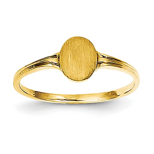 Baby and Children 14K Yellow Gold Signet Oval - Gold Childrens Yellow Signet Ring