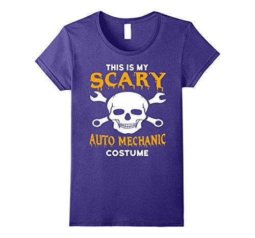 Mechanics Halloween Costume (Womens Scary Auto Mechanic Halloween Costume T-Shirt Medium Purple)