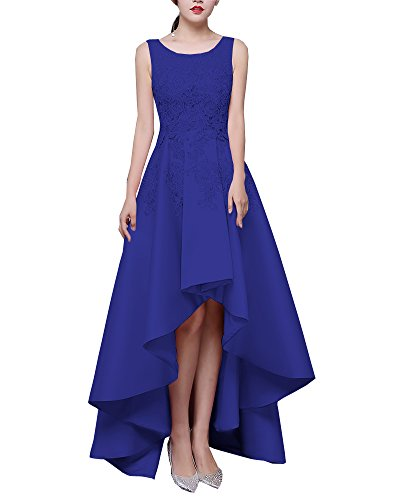 f8c0bcbb4da Lafee Bridal Lace Applique High Low Prom Dresses Long Satin Evening Foral  Gowns Royal Blue Size 10