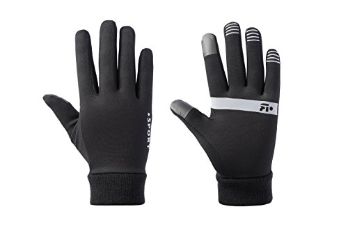 Nylon Print Gloves - Winter Warm Sports Gloves - Touchscreen Compatible - for Running, Cycling, Driving - for Men & Women (Warm, Medium)